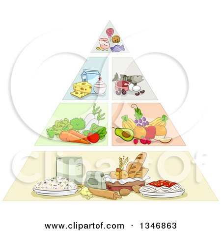 Clipart of a Sketched Food Pyramid - Royalty Free Vector Illustration by BNP Design Studio