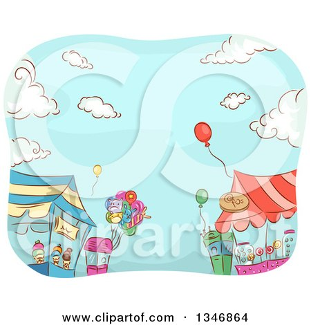 Clipart of Sketched Carnival Vendor Stands with Balloons Against Blue Sky - Royalty Free Vector Illustration by BNP Design Studio