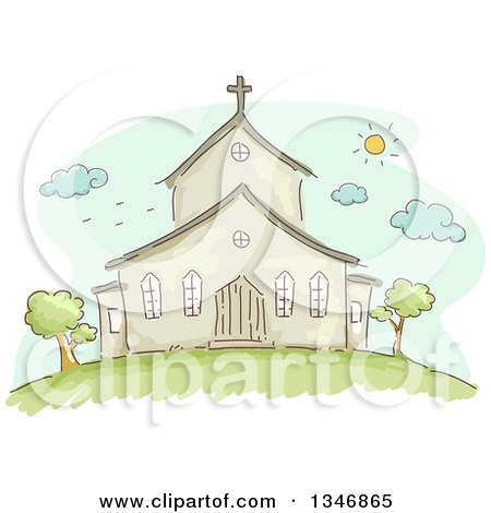 Clipart of a Sketched Church Building Facade on a Sunny Day - Royalty Free Vector Illustration by BNP Design Studio