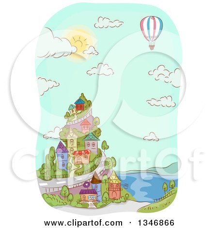 Clipart of a Sketched Hot Air Balloon over a Coastal Village - Royalty Free Vector Illustration by BNP Design Studio