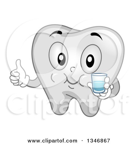Clipart of a Cartoon Tooth Mascot Gargling Mouthwash and Giving a Thumb up - Royalty Free Vector Illustration by BNP Design Studio