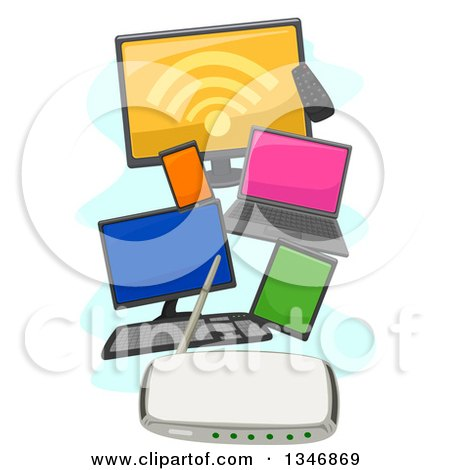Clipart of Computers, a Tv, Tablet and Smart Phone Connected to a Wifi Router - Royalty Free Vector Illustration by BNP Design Studio