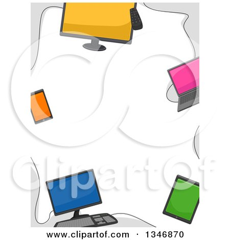 Clipart of a Border of Computers, Laptops, Smart Phones and Tablets - Royalty Free Vector Illustration by BNP Design Studio