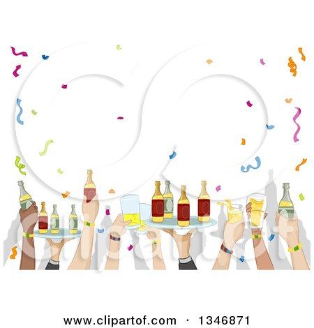 Clipart of Party Hands Holding up Trays and Cups of Alcohol - Royalty Free Vector Illustration by BNP Design Studio