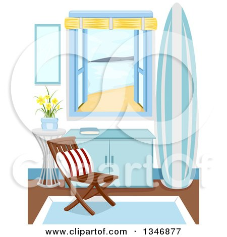 Clipart of a Chair, Table and Surfboard Inside a Cabin by the Window - Royalty Free Vector Illustration by BNP Design Studio