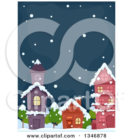 Clipart of Village Buildings on a Snowy Winter Night - Royalty Free Vector Illustration by BNP Design Studio