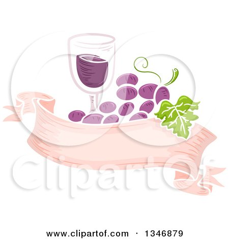 Clipart of a Glass of Wine and Purple Grapes over a Blank Ribbon Banner - Royalty Free Vector Illustration by BNP Design Studio