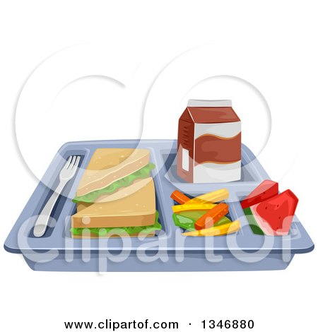 Clipart of a Cafeteria Lunch Tray with a Sandwich, Veggies, Watermelon and Milk - Royalty Free Vector Illustration by BNP Design Studio