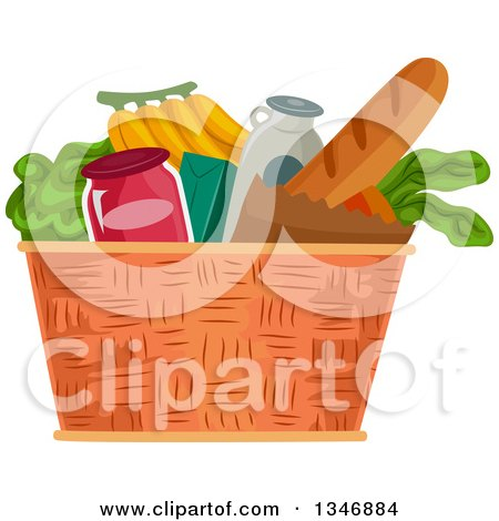 Clipart of a Basket Full of Groceries - Royalty Free Vector Illustration by BNP Design Studio