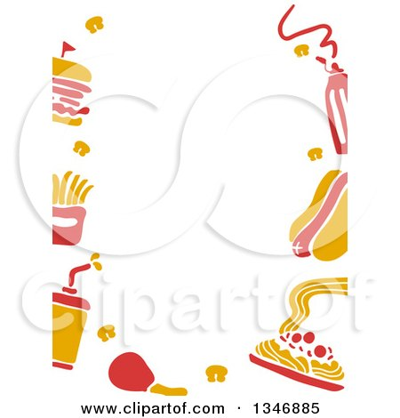 Clipart of a Border of Yellow and Red Fast Food Icons - Royalty Free Vector Illustration by BNP Design Studio