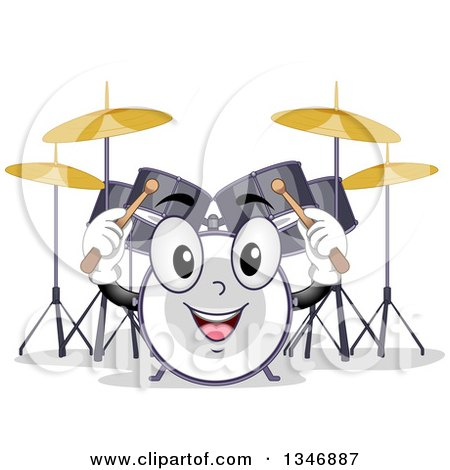 Clipart of a Cartoon Drum Set Mascot Holding up Sticks - Royalty Free Vector Illustration by BNP Design Studio