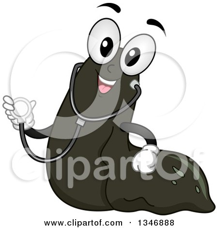 Clipart of a Cartoon Leech Mascot Wearing a Stethoscope - Royalty Free Vector Illustration by BNP Design Studio