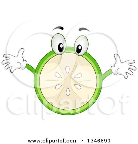 Clipart of a Cartoon Lime Character with Open Arms - Royalty Free Vector Illustration by BNP Design Studio