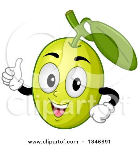 Clipart of a Cartoon Green Olive Mascot Giving a Thumb up - Royalty Free Vector Illustration by BNP Design Studio