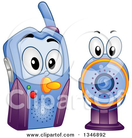 Clipart of a Cartoon Baby Video Monitor - Royalty Free Vector Illustration by BNP Design Studio