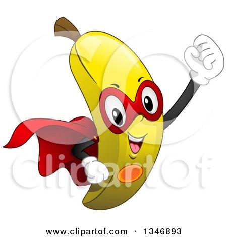 Clipart of a Cartoon Super Banana Character - Royalty Free Vector Illustration by BNP Design Studio
