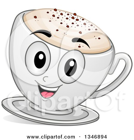 Clipart of a Cartoon Cappuccino Coffee Character - Royalty Free Vector Illustration by BNP Design Studio