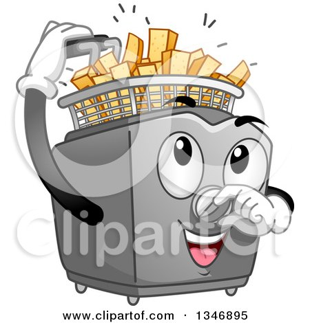 Clipart of a Cartoon Deep Fryer Mascot Inserting Potatoes to Make Fries - Royalty Free Vector Illustration by BNP Design Studio