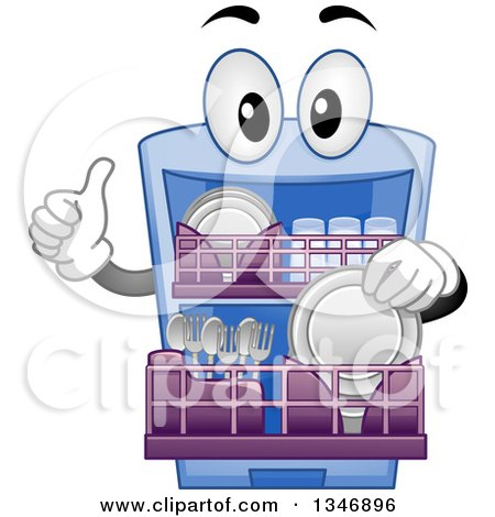 Clipart of a Cartoon Dishwasher Mascot Inserting Objects and Giving a Thumb up - Royalty Free Vector Illustration by BNP Design Studio