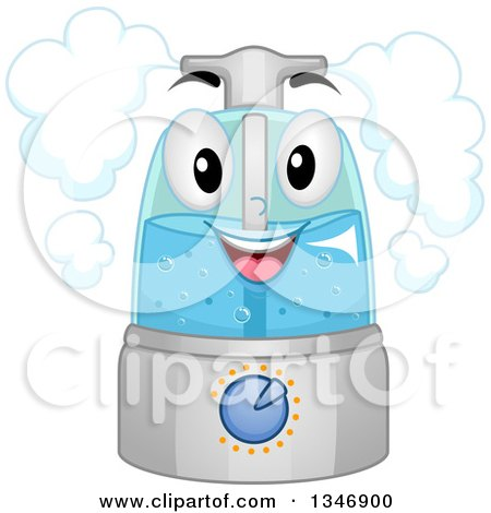 Clipart of a Cartoon Happy Humidifier Mascot - Royalty Free Vector Illustration by BNP Design Studio