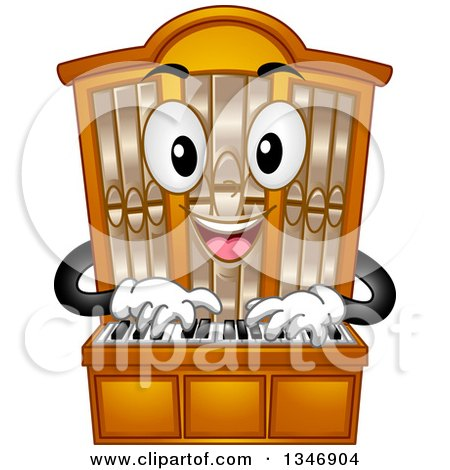 Clipart of a Cartoon Pipe Organ Mascot Playing - Royalty Free Vector Illustration by BNP Design Studio