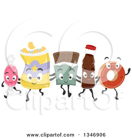 Clipart of a Group of Junk Food Characters Walking and Embracing - Royalty Free Vector Illustration by BNP Design Studio