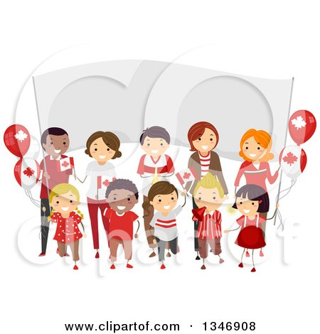 Clipart of a Group of Happy Children and Adults Holding Flags in Front of a Banner on Canada Day - Royalty Free Vector Illustration by BNP Design Studio