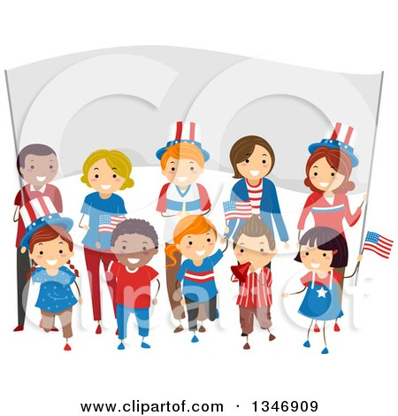 Clipart of a Group of Happy Children and Adults Holding American Flags in Front of a Banner on the Fourth of July - Royalty Free Vector Illustration by BNP Design Studio