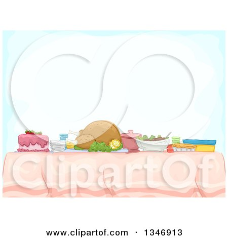 Clipart of a Table with a Roasted Turkey and Potluck Foods Under Text Space - Royalty Free Vector Illustration by BNP Design Studio
