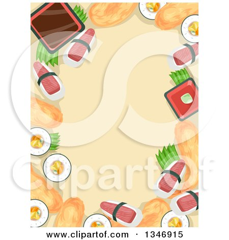Clipart of a Border of Sushi Foods Around Text Space - Royalty Free Vector Illustration by BNP Design Studio