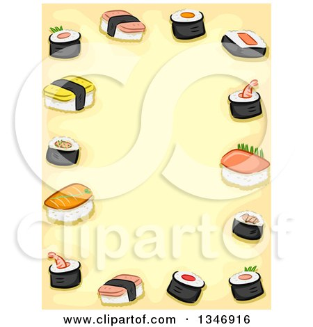 Clipart of a Border of Sushi over Yellow Text Space - Royalty Free Vector Illustration by BNP Design Studio