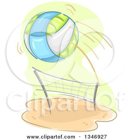 Clipart of a Beach Volleyball Flying over a Net - Royalty Free Vector Illustration by BNP Design Studio