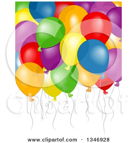 Clipart of a Background of Floating Colorful Party Balloons - Royalty Free Vector Illustration by BNP Design Studio