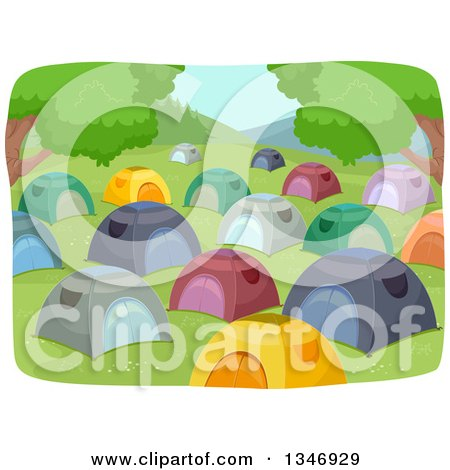 Clipart of a Crowded Campground with Tents - Royalty Free Vector Illustration by BNP Design Studio