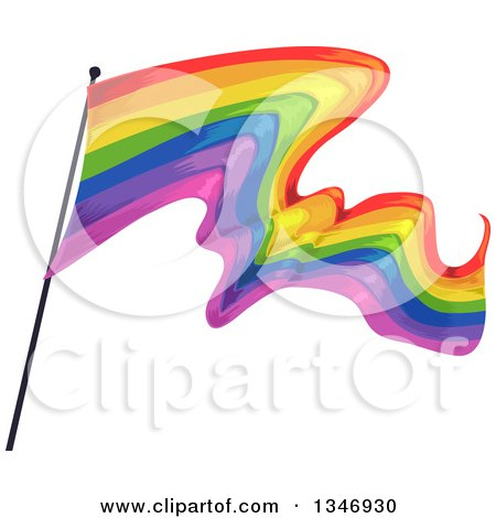 Clipart of a Waving Rainbow Flag - Royalty Free Vector Illustration by BNP Design Studio