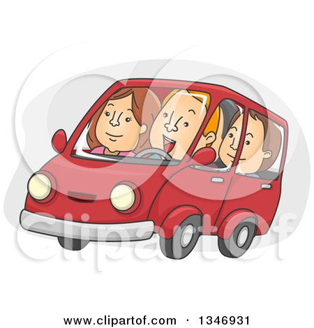 Clipart of a Cartoon Group of Caucasian People Car Pooling - Royalty Free Vector Illustration by BNP Design Studio