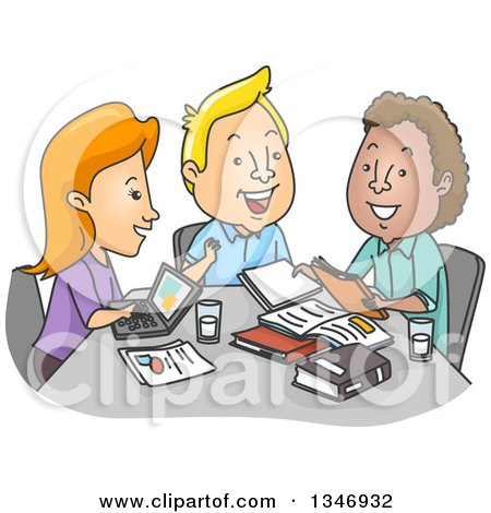Clipart of a Cartoon Group of College Students Studying at a Table - Royalty Free Vector Illustration by BNP Design Studio