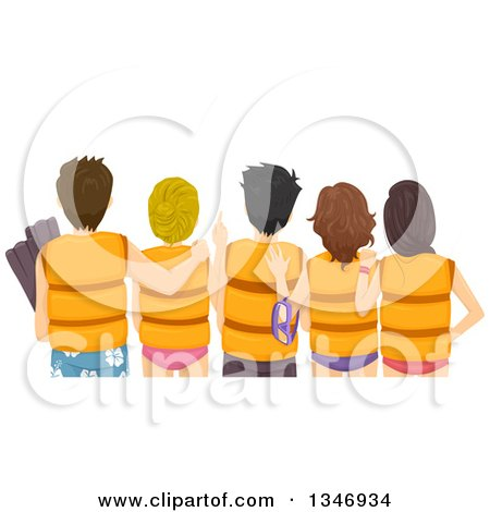 Clipart of a Rear View of Teen Boys and Girls Wearing Life Jackets at the Beach - Royalty Free Vector Illustration by BNP Design Studio