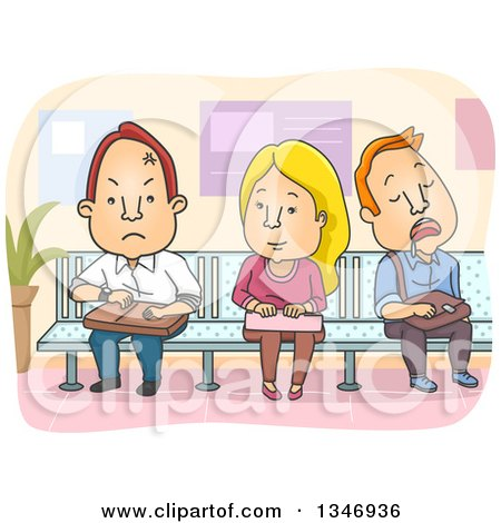 Clipart of a Cartoon Caucasian Woman Sitting Between Angry and Sleeping Men on a Waiting Room Bench - Royalty Free Vector Illustration by BNP Design Studio