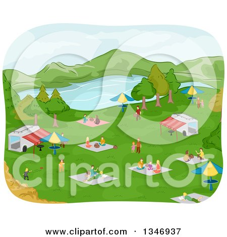 Clipart of a Lake Park with Families Having Picnics Around Food Stands - Royalty Free Vector Illustration by BNP Design Studio