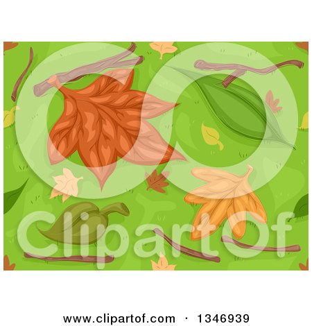 Clipart of a Seamless Background of Autumn Leaves, Twigs and Grass - Royalty Free Vector Illustration by BNP Design Studio