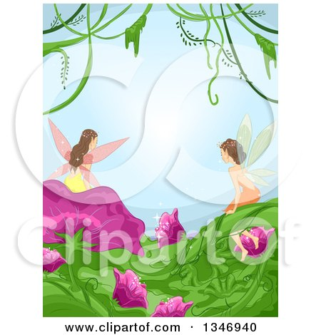 Clipart of a Border of Fairies on Flowers and Leaves, with Vines Against Blue - Royalty Free Vector Illustration by BNP Design Studio