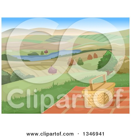 Clipart of a Picnic Basket and Blanket on a Hill with a View of a Lake and Farm Lands - Royalty Free Vector Illustration by BNP Design Studio