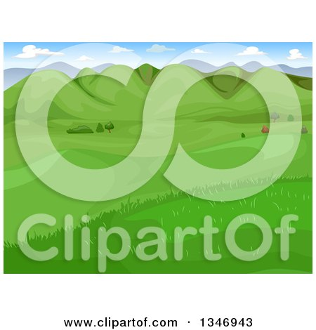 Clipart of a Landscape of a Green Valley with Hills - Royalty Free Vector Illustration by BNP Design Studio
