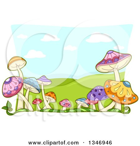 Clipart of a Border of Colorful Mushrooms over a Landscape of Hills - Royalty Free Vector Illustration by BNP Design Studio