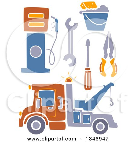 Clipart of a Tow Truck, Tools, and Gas Pump - Royalty Free Vector Illustration by BNP Design Studio
