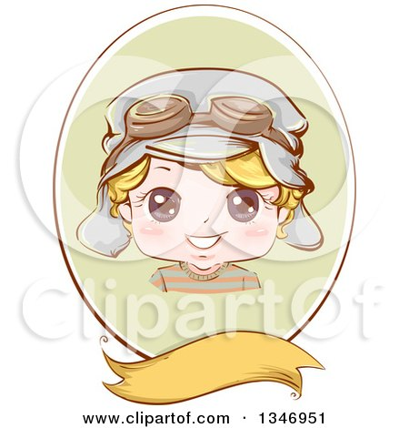Clipart of a Happy Blond Caucasian Boy Wearing Aviator Goggles and a Hat in a Green Oval over a Blank Banner - Royalty Free Vector Illustration by BNP Design Studio