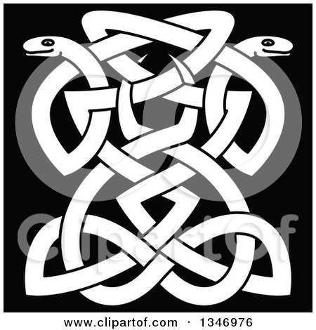 Clipart of White Celtic Knot Snakes on Black 8 - Royalty Free Vector Illustration by Vector Tradition SM