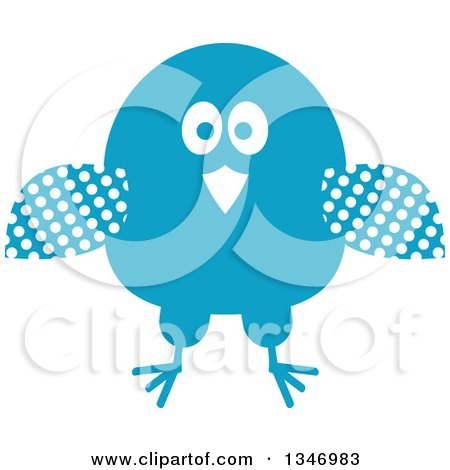 Clipart of a Retro Styled Blue Bird with Polka Dot Wings - Royalty Free Vector Illustration by Vector Tradition SM