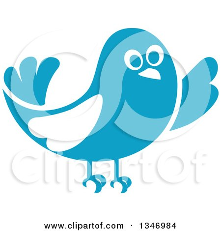 Clipart of a Retro Styled Blue Bird Waving or Listening 2 - Royalty Free Vector Illustration by Vector Tradition SM